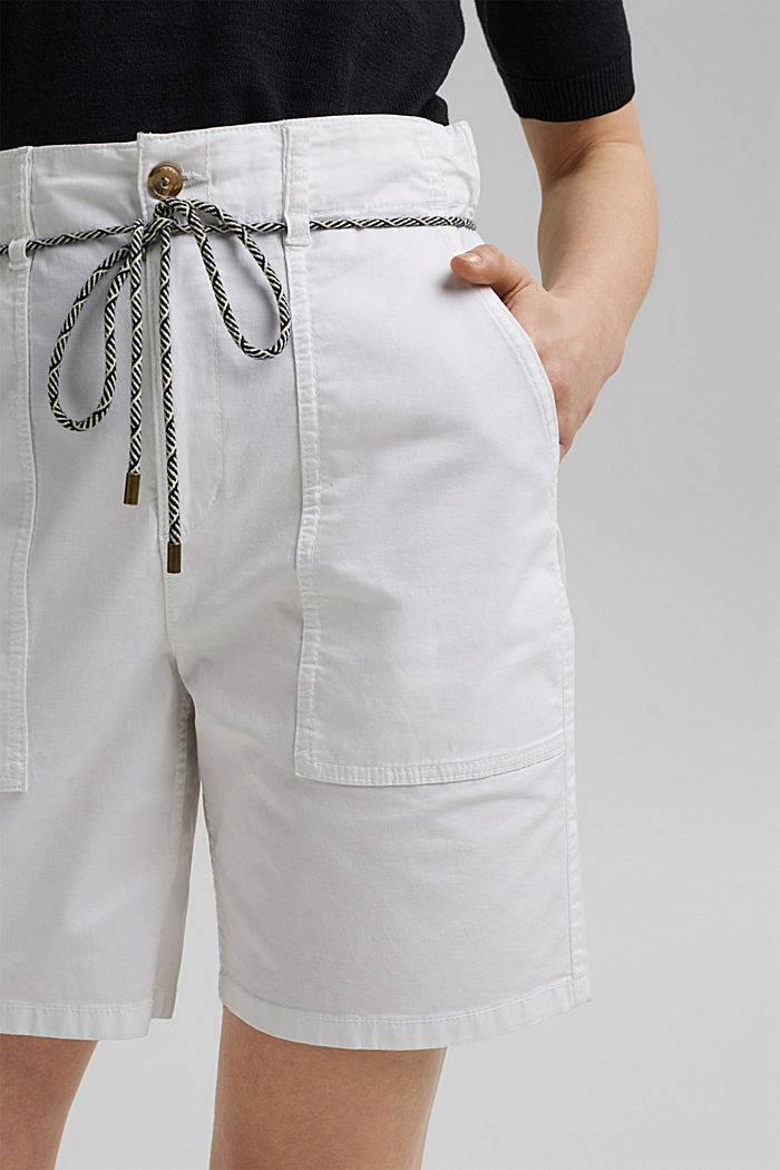 With a belt: utility shorts made of pima cotton, WHITE, detail image number 2