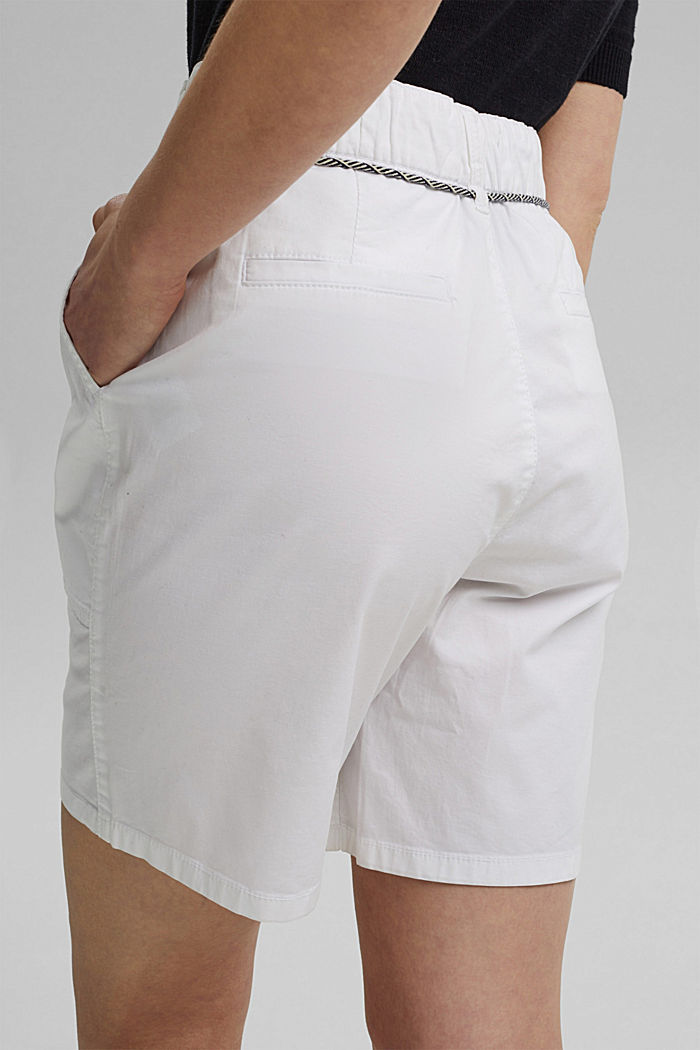 With a belt: utility shorts made of pima cotton, WHITE, detail image number 5