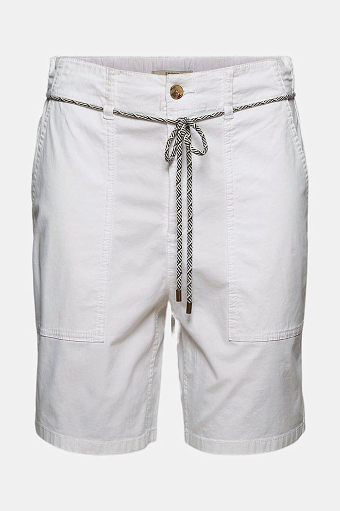 With a belt: utility shorts made of pima cotton, WHITE, detail image number 6