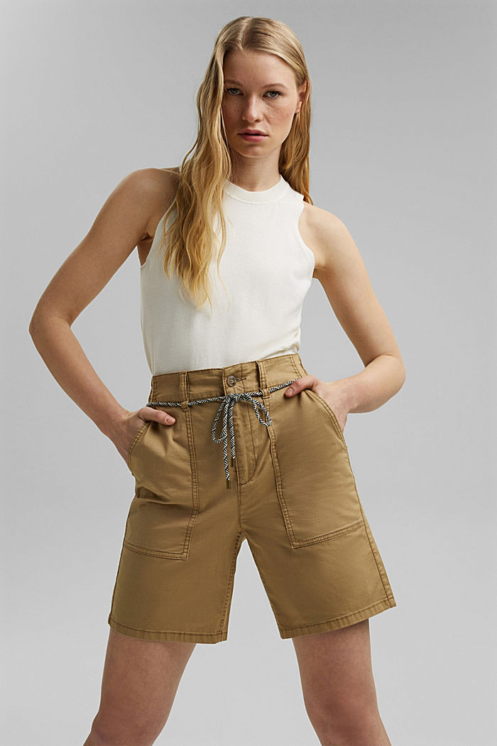 With a belt: utility shorts made of pima cotton, CAMEL, detail image number 0