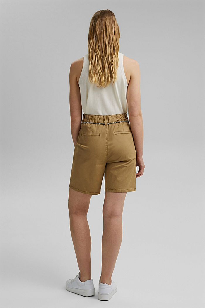 With a belt: utility shorts made of pima cotton, CAMEL, detail image number 3