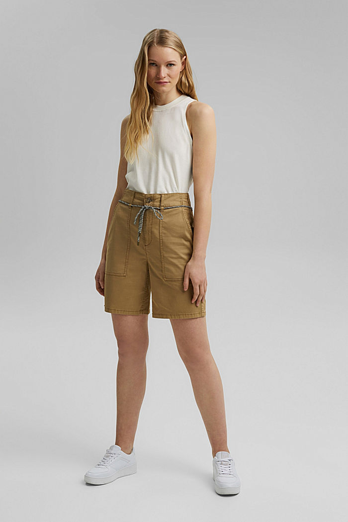 With a belt: utility shorts made of pima cotton, CAMEL, detail image number 1