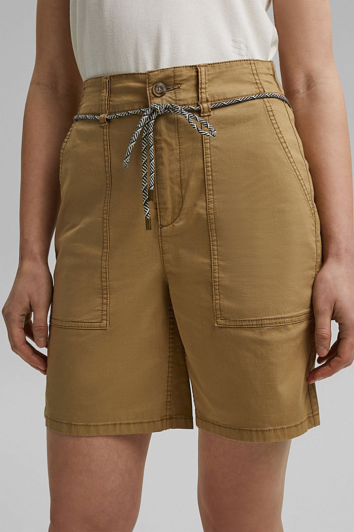 With a belt: utility shorts made of pima cotton, CAMEL, detail image number 2