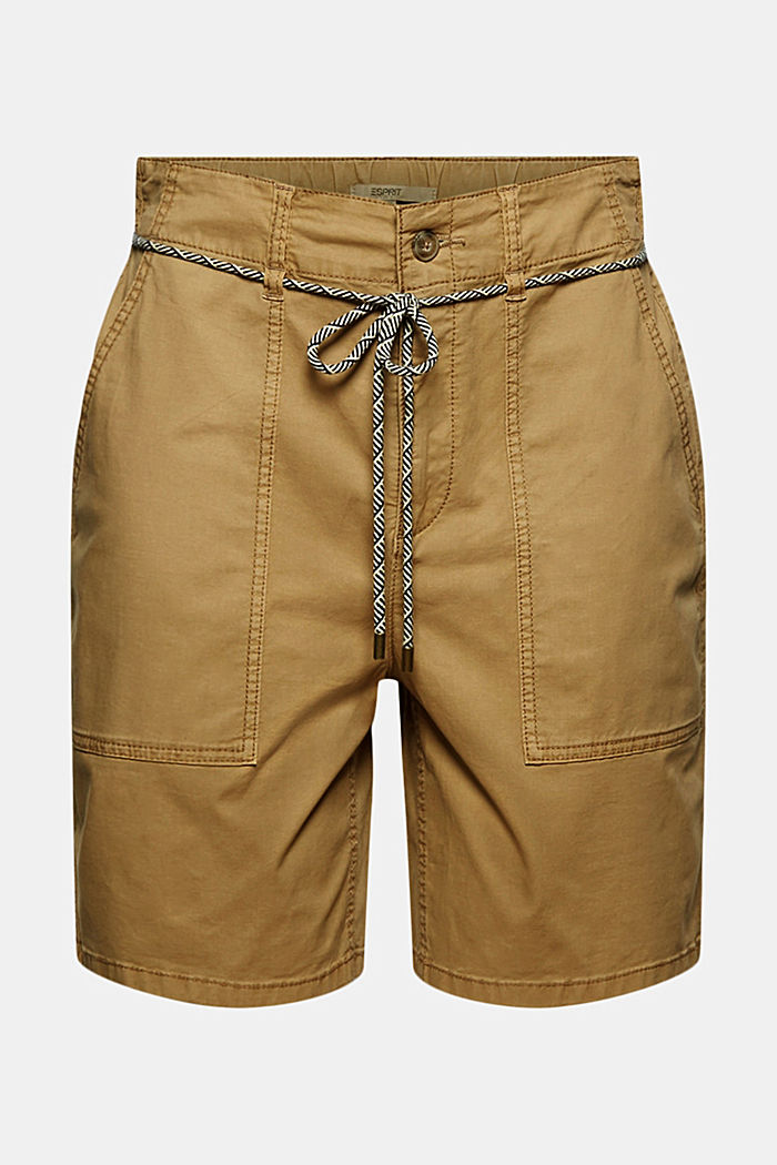 With a belt: utility shorts made of pima cotton, CAMEL, detail image number 6