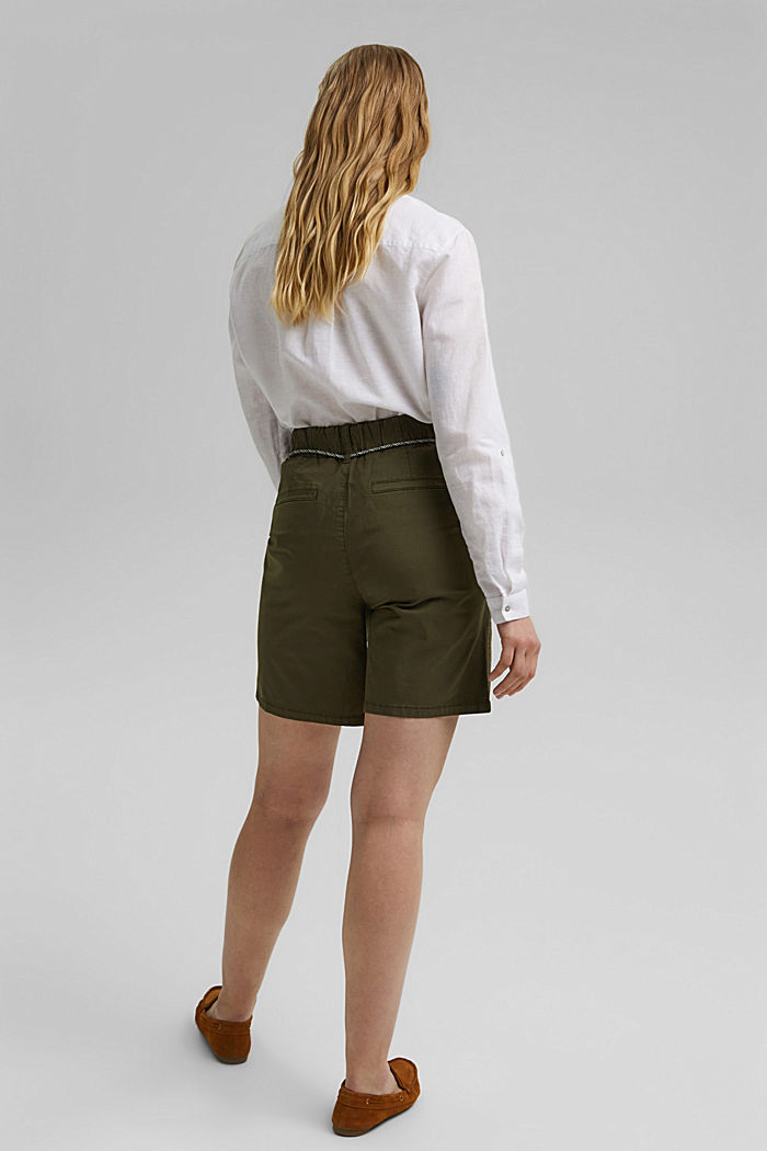 With a belt: utility shorts made of pima cotton, KHAKI GREEN, detail image number 3