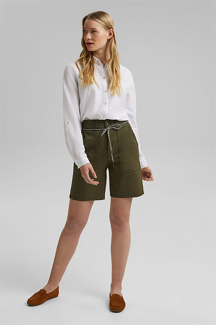 With a belt: utility shorts made of pima cotton, KHAKI GREEN, detail image number 1