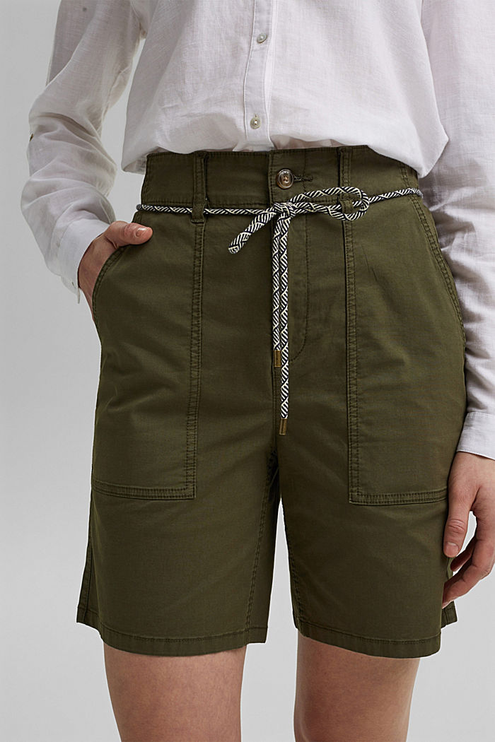 With a belt: utility shorts made of pima cotton, KHAKI GREEN, detail image number 2