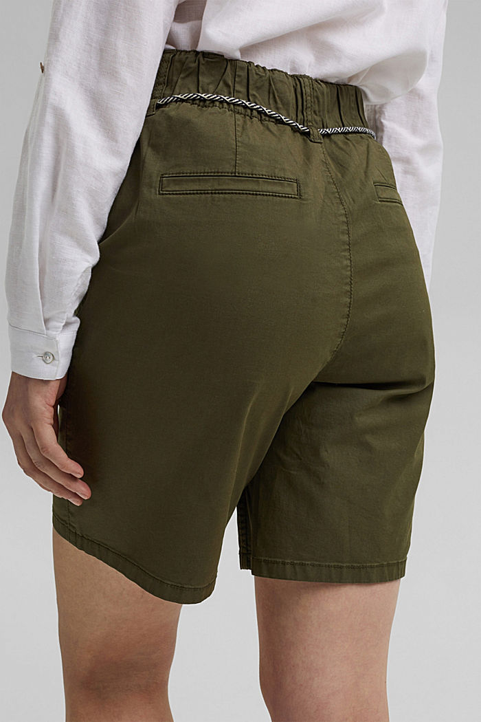 With a belt: utility shorts made of pima cotton, KHAKI GREEN, detail image number 5