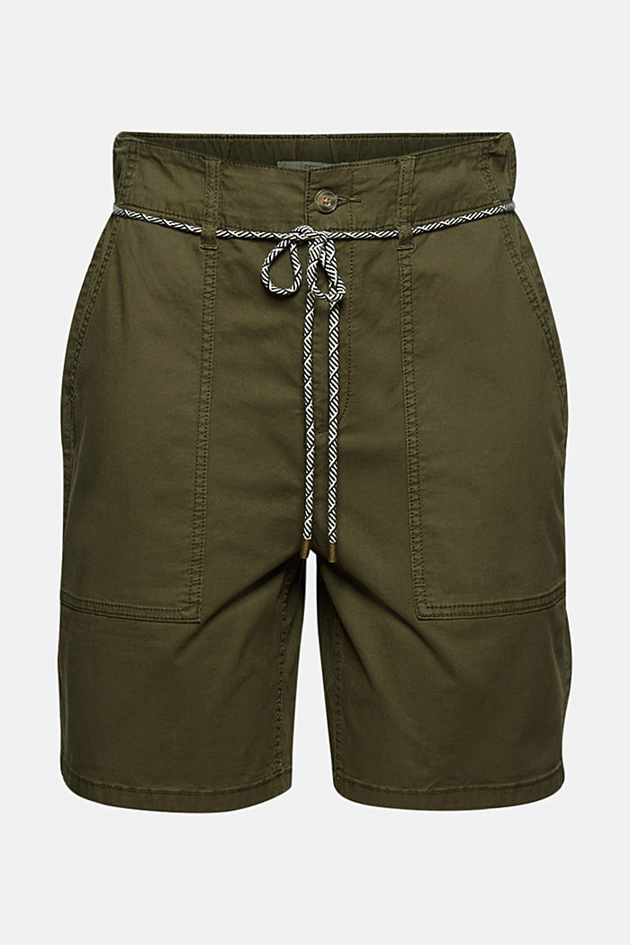 With a belt: utility shorts made of pima cotton, KHAKI GREEN, detail image number 6