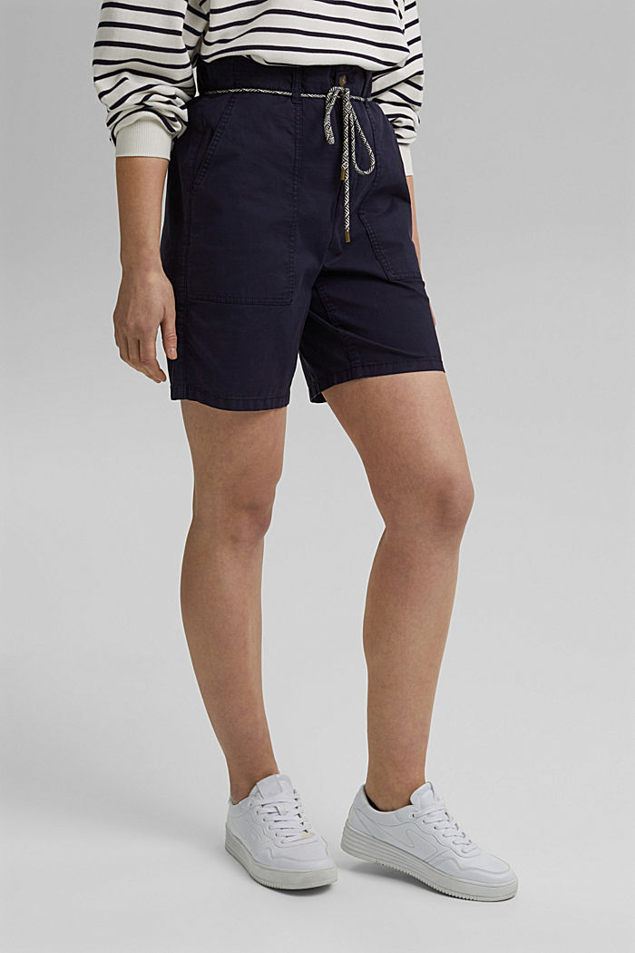 With a belt: utility shorts made of pima cotton, NAVY, detail image number 0