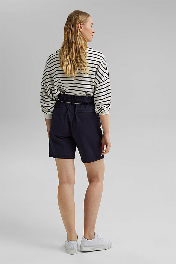 With a belt: utility shorts made of pima cotton, NAVY, detail image number 3