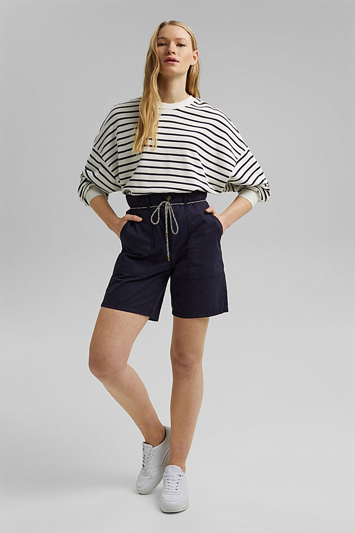 With a belt: utility shorts made of pima cotton, NAVY, detail image number 1