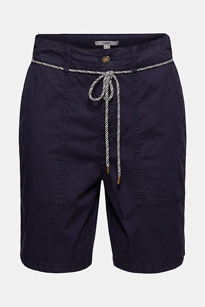 With a belt: utility shorts made of pima cotton, NAVY, detail image number 6