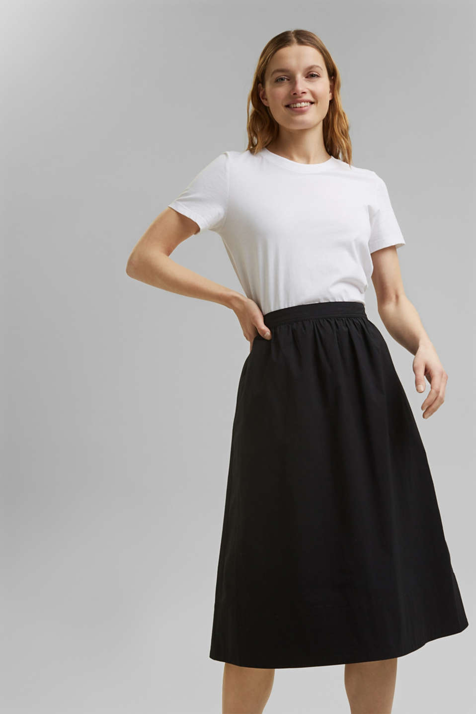 Esprit - Cotton poplin midi skirt