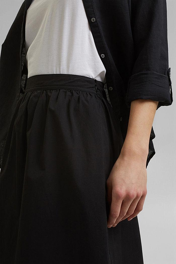 Midirok van katoen-popeline, BLACK, detail image number 2