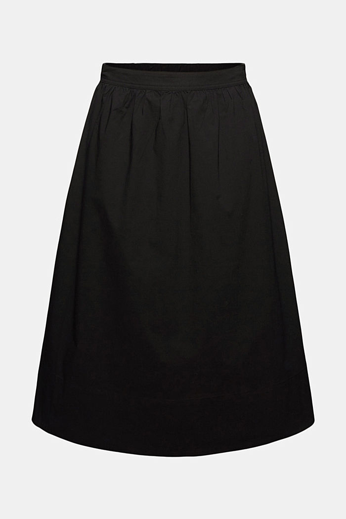 Cotton poplin midi skirt