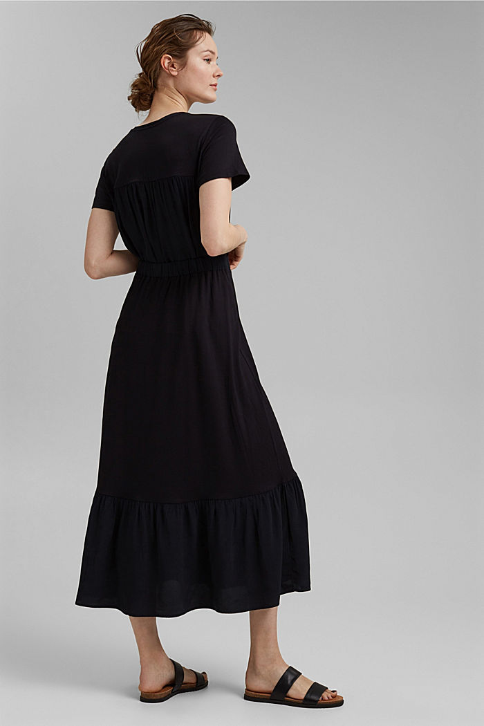 Jersey skirt with a hem frill, BLACK, detail image number 3