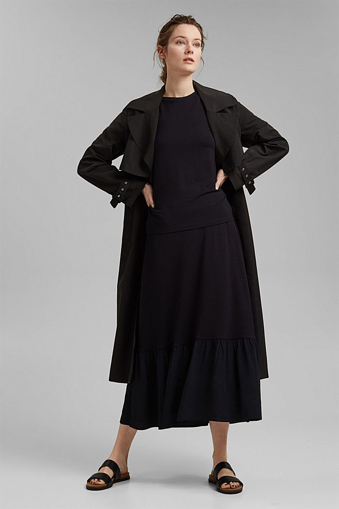 Jersey skirt with a hem frill, BLACK, detail image number 1