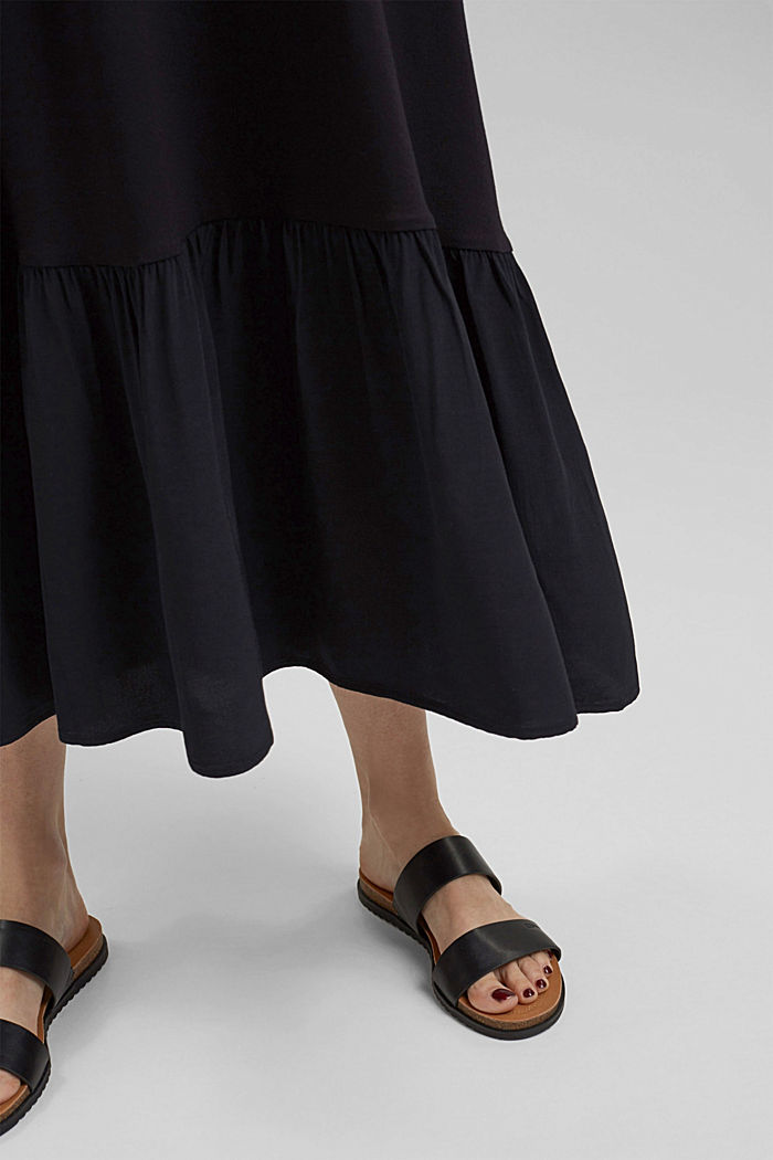 Jersey skirt with a hem frill, BLACK, detail image number 2