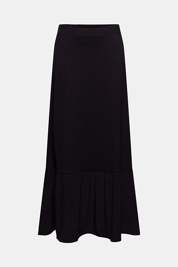 Jersey skirt with a hem frill, BLACK, detail image number 5