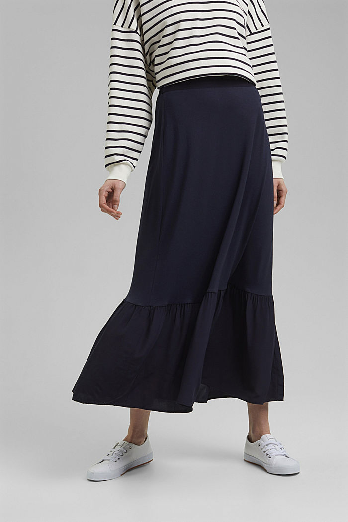 Jersey skirt with a hem frill, NAVY, detail image number 0