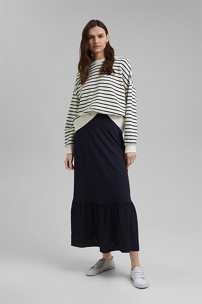 Jersey skirt with a hem frill, NAVY, detail image number 1