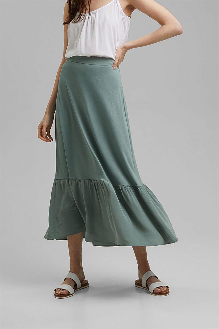 Jersey rok met volantzoom