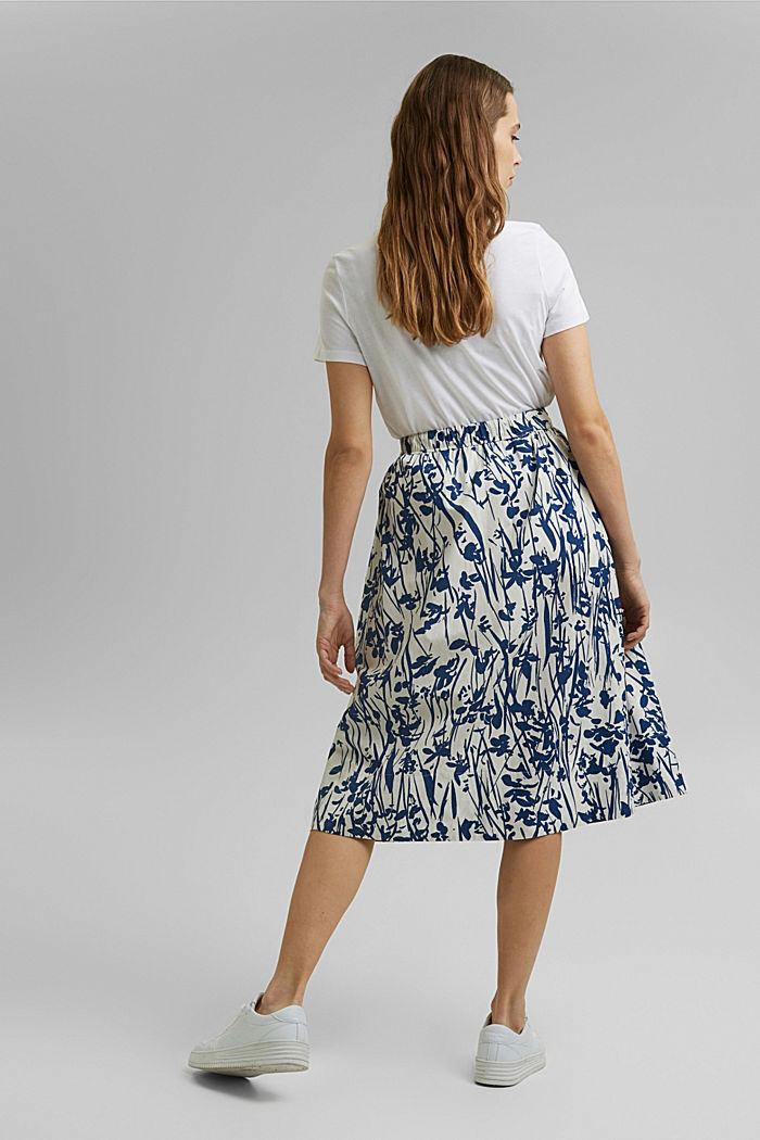 Flared midi skirt made of cotton poplin, OFF WHITE, detail image number 3