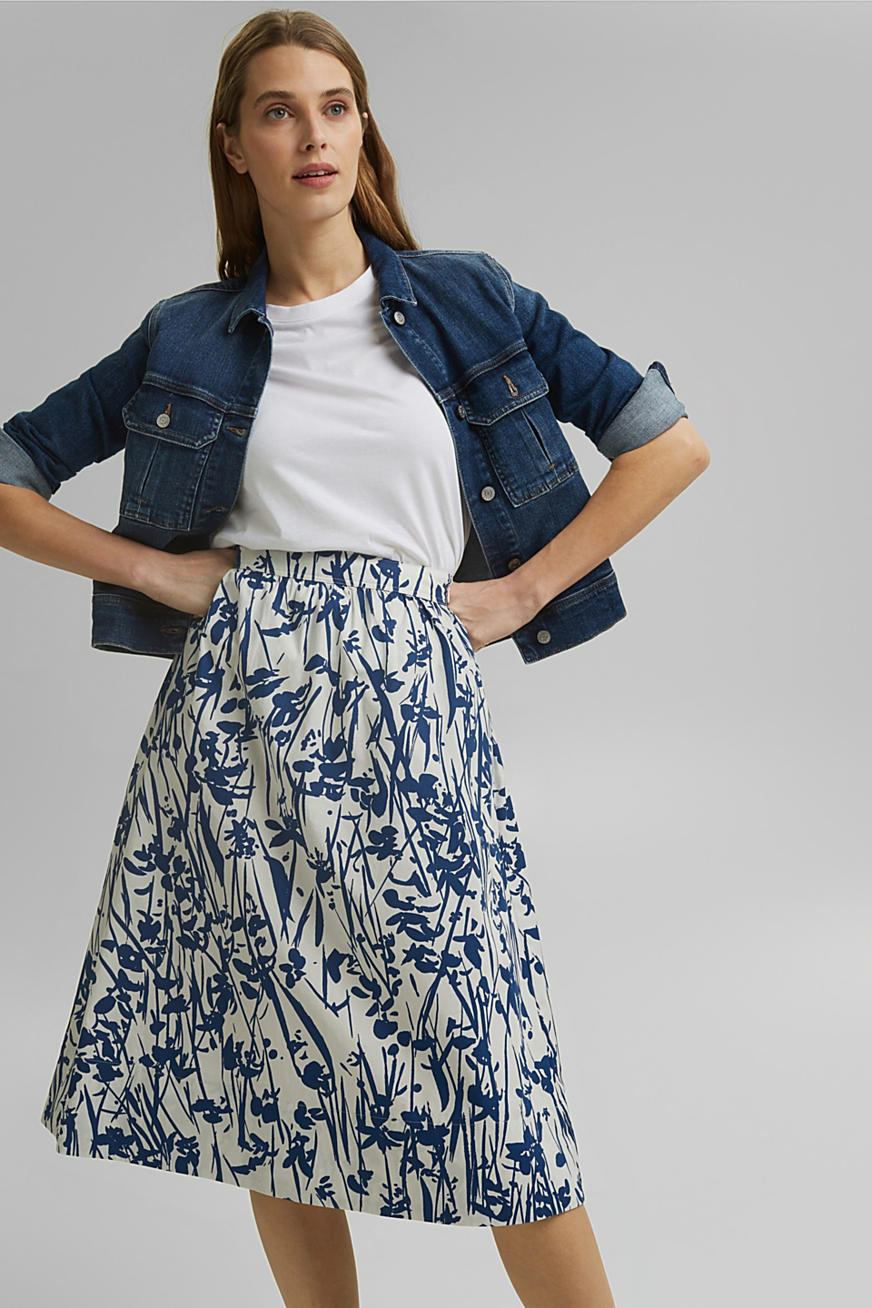 Flared midi skirt made of cotton poplin