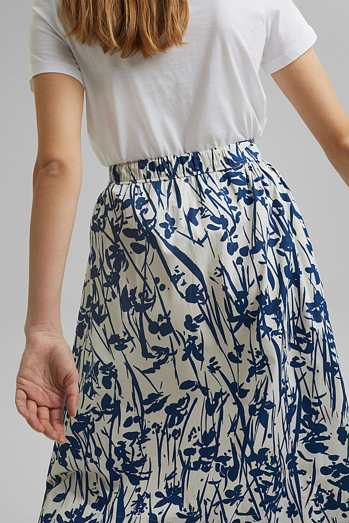 Flared midi skirt made of cotton poplin, OFF WHITE, detail image number 5