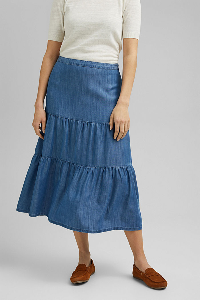 Made of TENCEL™: Denim-look midi skirt, BLUE MEDIUM WASHED, detail image number 0