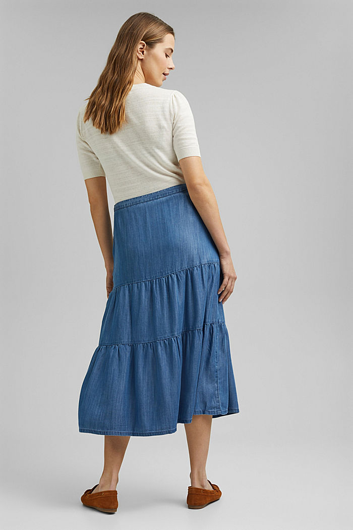 Made of TENCEL™: Denim-look midi skirt, BLUE MEDIUM WASHED, detail image number 3