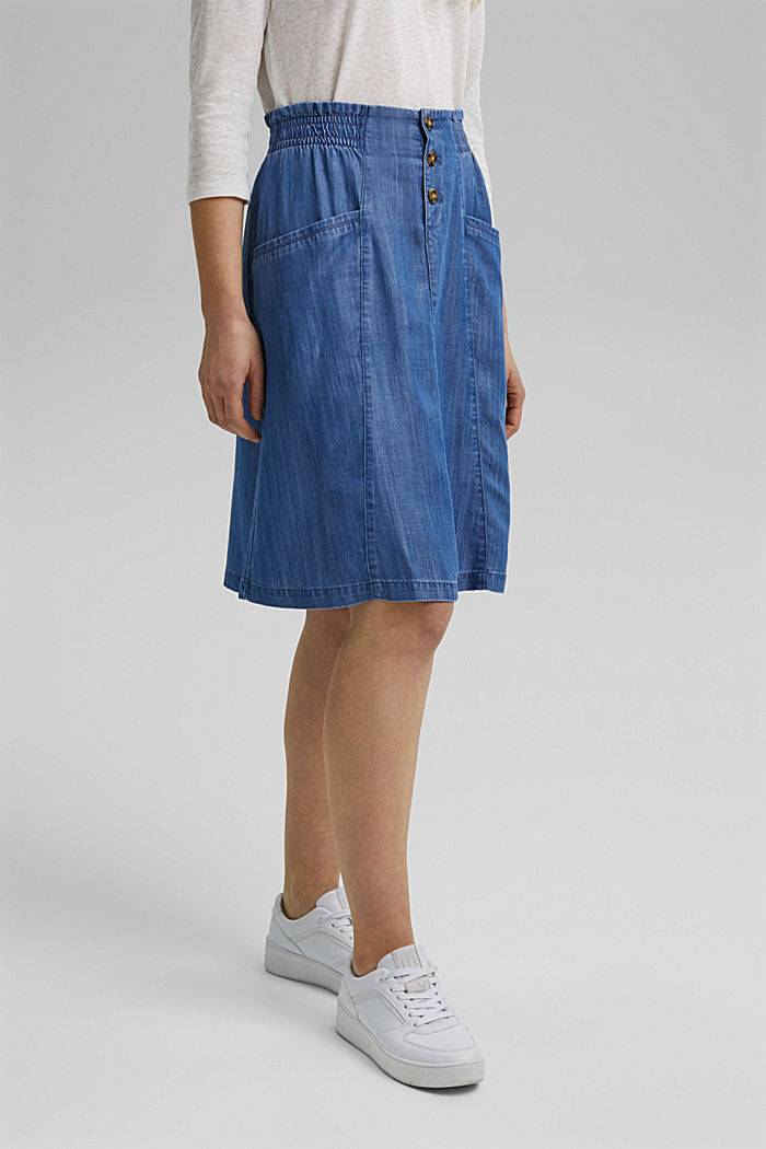Made of TENCEL™: denim-effect skirt, BLUE MEDIUM WASHED, detail image number 0