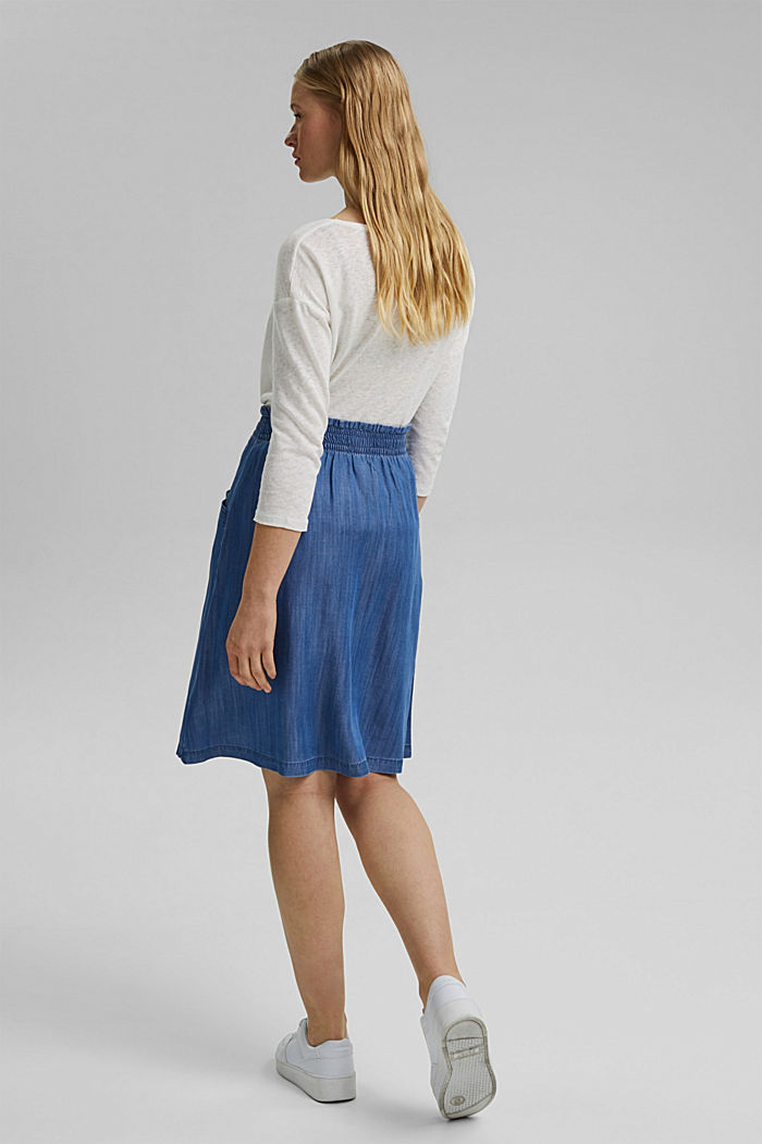 Made of TENCEL™: denim-effect skirt, BLUE MEDIUM WASHED, detail image number 3
