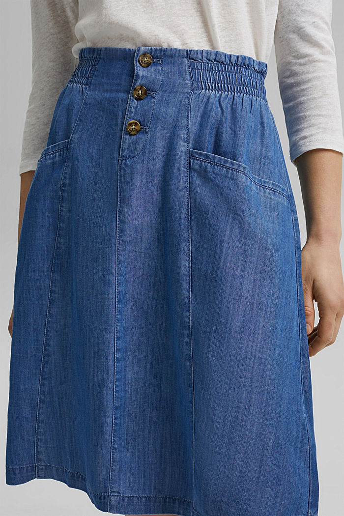 Made of TENCEL™: denim-effect skirt, BLUE MEDIUM WASHED, detail image number 2
