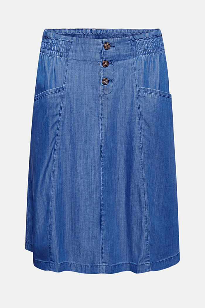 Made of TENCEL™: denim-effect skirt, BLUE MEDIUM WASHED, detail image number 5