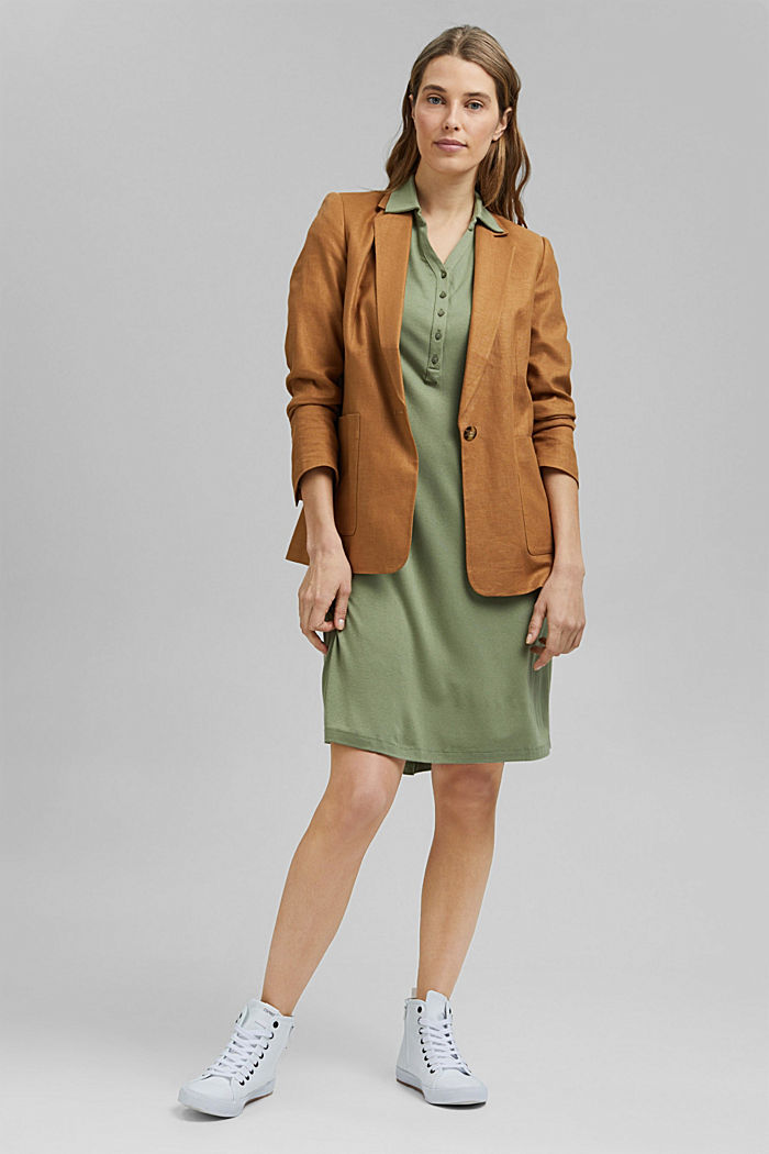 Jersey-Kleid aus LENZING™ ECOVERO™, LIGHT KHAKI, detail image number 1