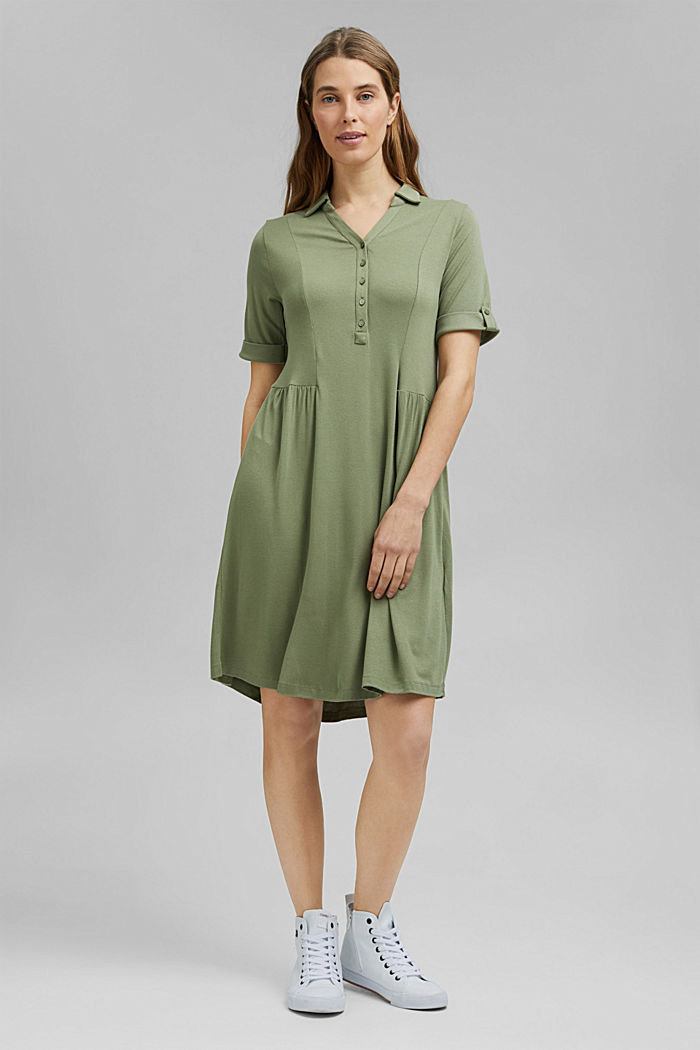 Jersey-Kleid aus LENZING™ ECOVERO™, LIGHT KHAKI, detail image number 6