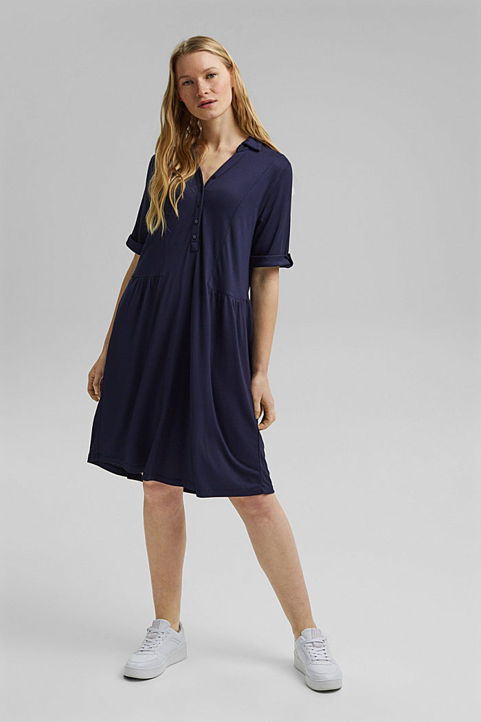 Jersey jurk van LENZING™ ECOVERO™, NAVY, detail image number 1