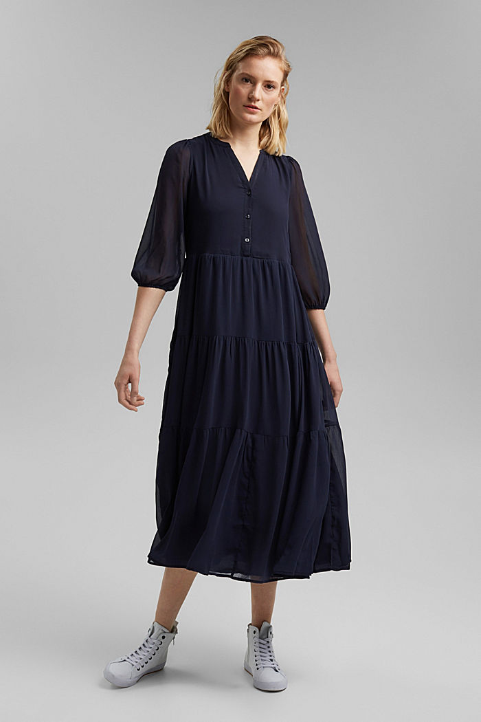 Crinkle chiffon midi dress with flounces, NAVY, detail image number 0