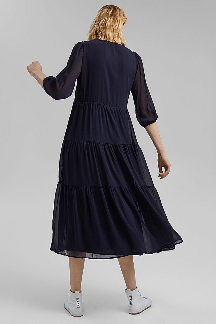 Crinkle chiffon midi dress with flounces, NAVY, detail image number 2