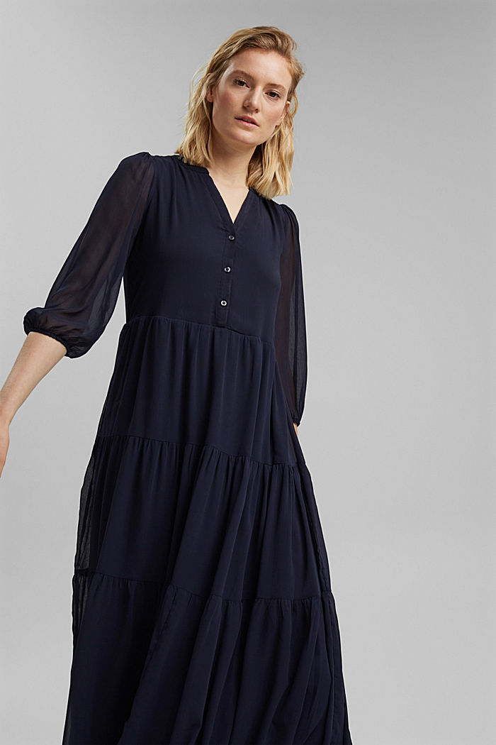 Crinkle chiffon midi dress with flounces, NAVY, detail image number 5