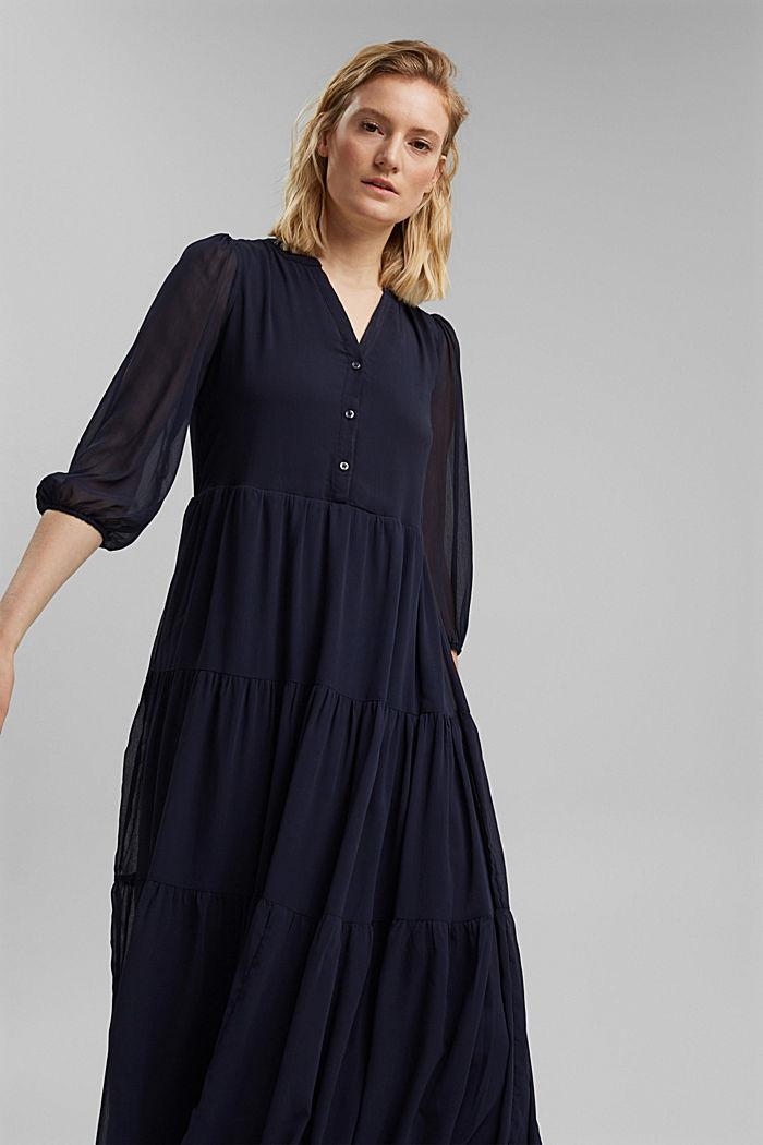 Midi-jurk van crinkled chiffon met volants