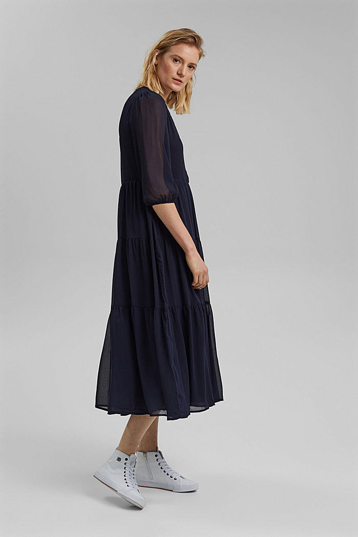 Crinkle chiffon midi dress with flounces, NAVY, detail image number 1