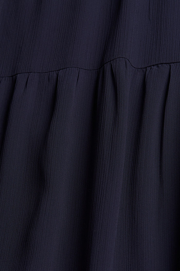 Crinkle chiffon midi dress with flounces, NAVY, detail image number 4
