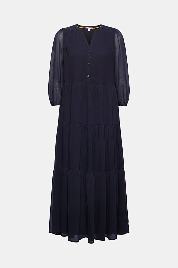 Crinkle chiffon midi dress with flounces, NAVY, detail image number 6