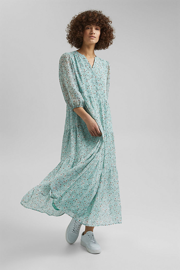 Recycled: crushed chiffon maxi dress, TURQUOISE, detail image number 0