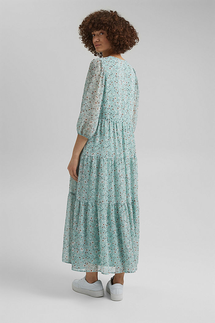Recycled: crushed chiffon maxi dress, TURQUOISE, detail image number 2