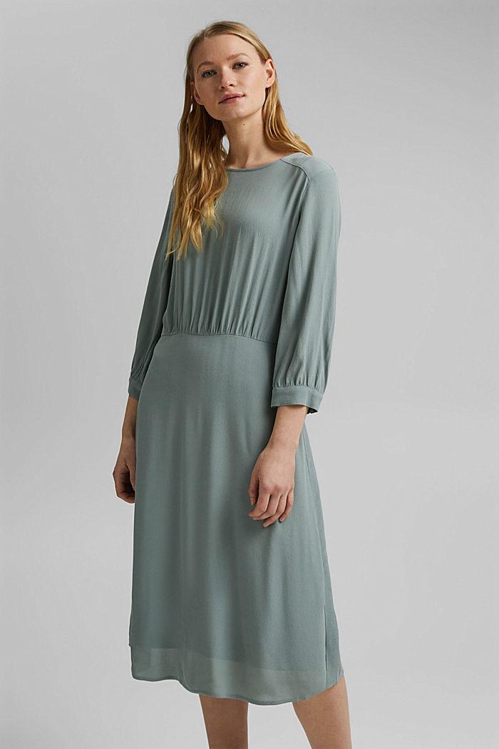 Crêpe midi dress containing LENZING™ ECOVERO™, TURQUOISE, detail image number 0