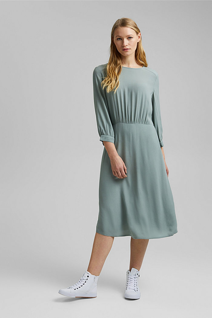 Crêpe midi dress containing LENZING™ ECOVERO™, TURQUOISE, detail image number 1
